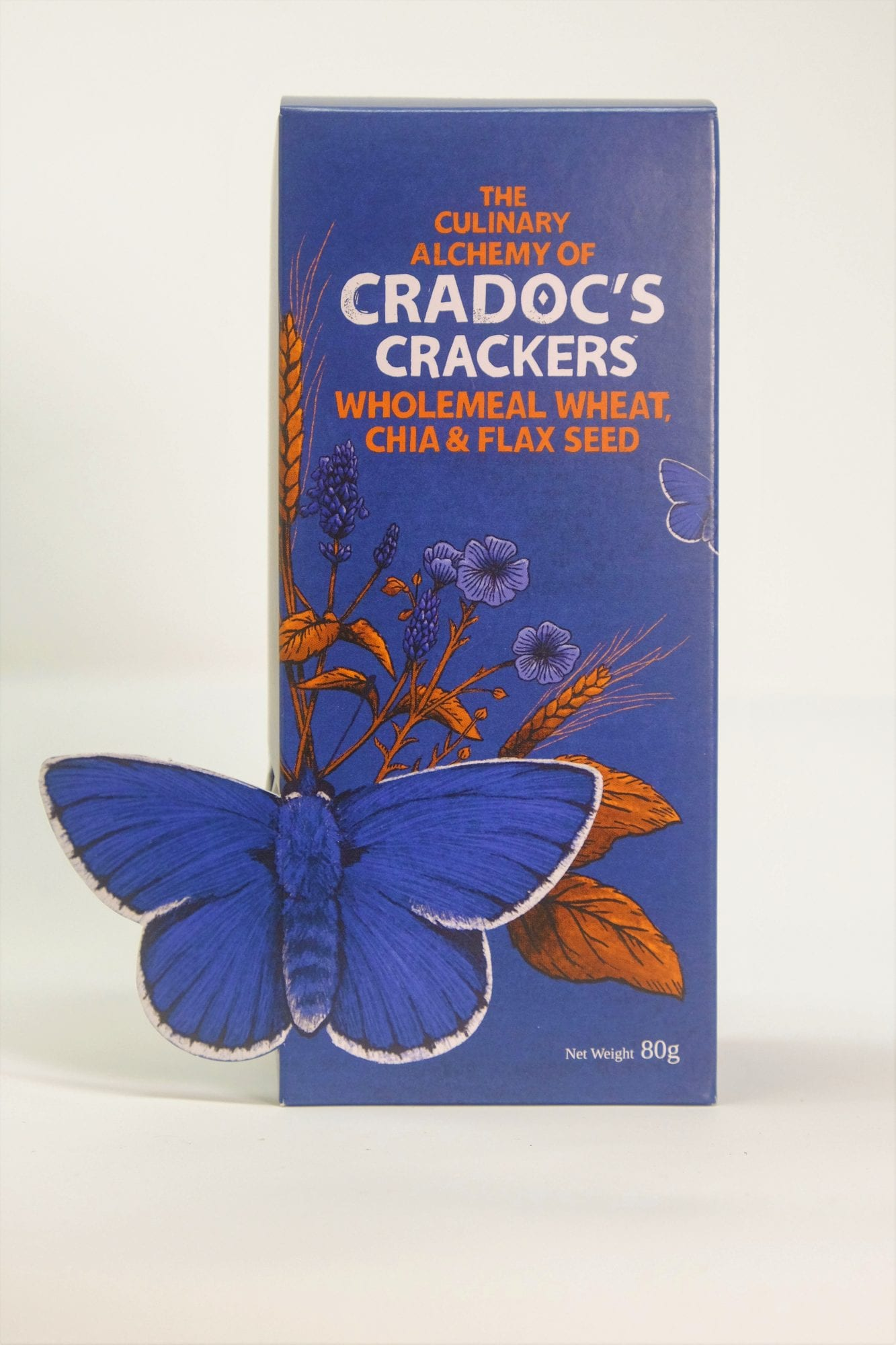 Cradoc's crackers wholemeal wheat chia flax seed box